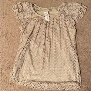Tan lace ruffle short sleeve M blouse New with Tag